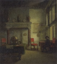 a cavalier in an interior by woutherus mol