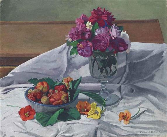 fleurs et fraises by félix edouard vallotton