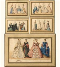 les costumes des dames de la cour de france de charles ix à l'empire (5 works) by frédéric théodore lix