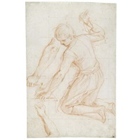 kneeling young man, raising a hammer in his left hand, with subsidiary studies of his right and left arms - study(+ study of a standing youth, holding a stick, verso) by giovanni (il cosci) balducci