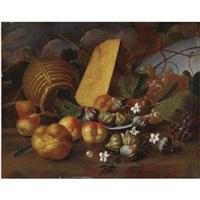 natura morta con fichi, pere, uva, formaggio e pane by tommaso realfonso