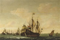 a man o'war with other shipping in choppy waters by jacob gerritz loef