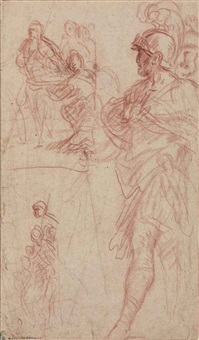 study of a roman general with two subsidiary compositional studies by pietro da cortona