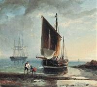 fishermen on the shore by hermanus koekkoek the elder