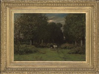 a cow in a woodland clearing by léonce chabry