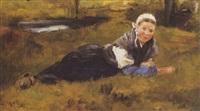 le repos dans l'herbe by louis mettling