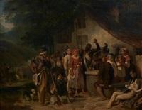 la halte des pyrénées (retour d'espagne) by nicolas toussaint charlet and hippolyte bellange