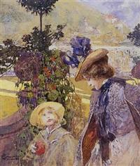 mère et son enfant dans un jardin public by fritz hegenbarth