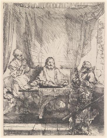 christus in emmaus by rembrandt van rijn
