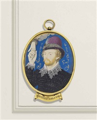 a young gentleman, clasping a hand from a cloud, with reddish fair curling hair and moustache, wearing a pinked black doublet with wide falling lace... by nicholas hilliard