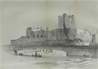 carrickfergus castle, view towards carrickfergus castle and lough scene co. donegal (set of 3) by eleanor coulson