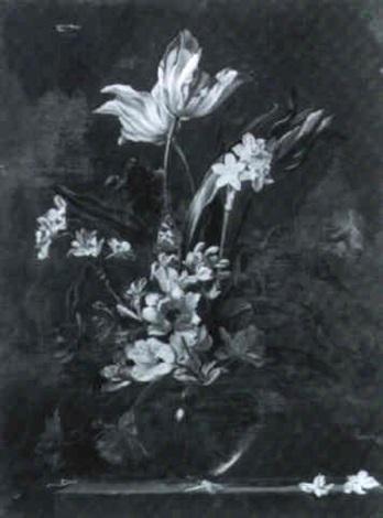 bouquet de fleurs dans un vase de verre posé sur un entablement by augustine vervloet