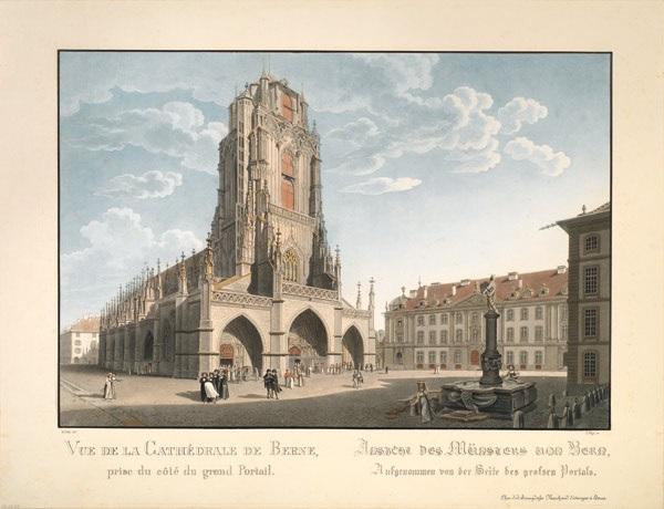vue de la cathédrale de berne, prise du coté du grand portail (ansicht des münsters von bern, aufgenommen von der seite des grossen portals) by gabriel ludwig lory