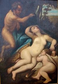 vénus et l'amour découvert par un satyre by correggio