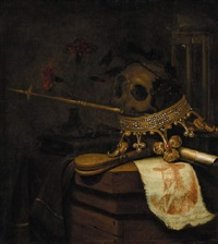 a vanitas still life with a crown, a skull, castanets, carnations in a glass vase, an hourglass, a scroll and an engraved portrait of king charles i by vincent laurensz van der vinne the elder