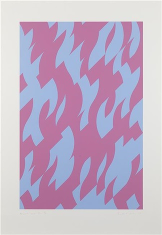 magenta and blue by bridget riley
