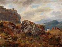 weidevieh in weiter berglandschaft by benno raffael adam