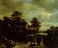 a torrent in a wooded river landscape by isaak van ruysdael