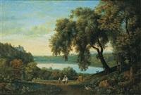 vue du lac d'albano avec castelgandolfo by elisabet charlotta karsten
