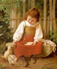 petite fille donnant à manger à des poussins by joseph athanase aufray