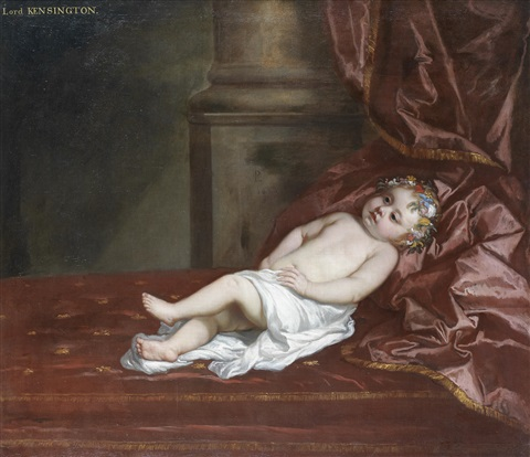 portrait of a child traditionally identified as lord kensington full length in a white cloth by sir peter lely