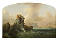 view of ships off rocky coast by charles henry miller
