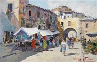 a neapolitan market (+ a neapolitan pier; pair) by giuseppe pesa