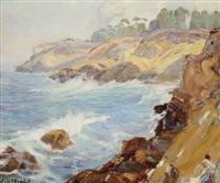 crashing waves in a san diego coastal view by marie b. kendall
