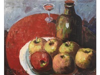 apples, wine and red table cloth by selden connor gile