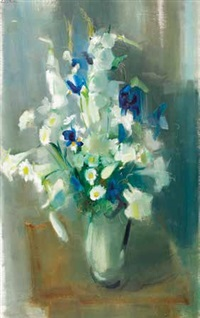 spring flowers in a vase by louis van heerden