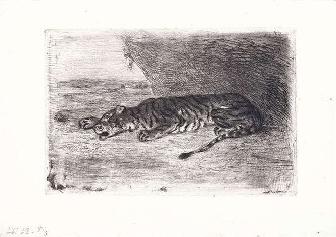 tigre couché à l'entrée de son antre et tigre couché dans le désert (2 works) by eugène delacroix