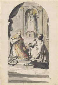 the madonna of loreto adored by a bishop saint, with a text from revelations, and saint stanislaus kostka by pietro antonio novelli