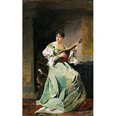 mujer con mandolina by eduardo rosales martínez