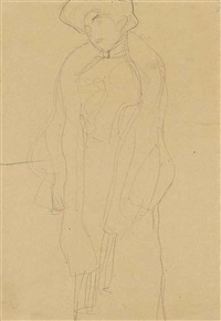 stehend nach links (study for bildnis hermine gallia) by gustav klimt