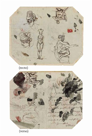 figures on a letter from prince hoare to the artist sketch double sided by henry fuseli