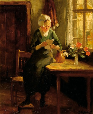 woman reading by a window by gijsbertus jan sijthoff