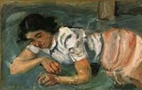 jeune femme couchée dans l'herbe (le trèfle à quatre feuilles) by chaïm soutine