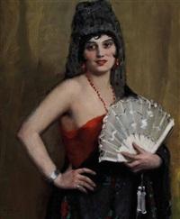 spanische dame mit weißen fächer by janos laszlo aldor
