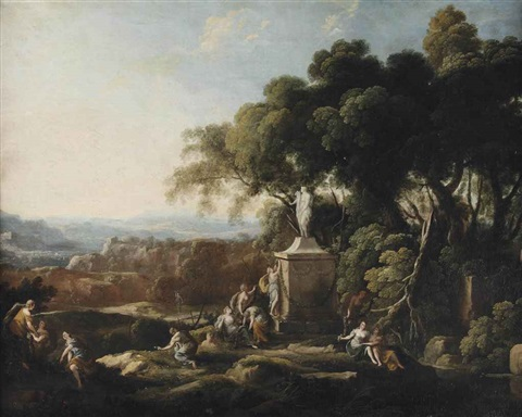 females making offerings to a statue of ceres in a wooded landscape a village and mountains beyond by pierre antoine patel