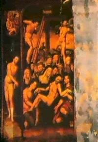 le descente de croix entre la flagellation et le portement de la croix, avec deux scens de la vie de job en medaillon by juan correa de vivar
