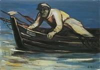 alter fischer mit boot by franz höhne