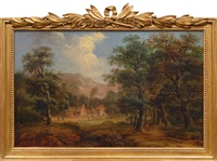 forest landscape with manor by jakob manskirch