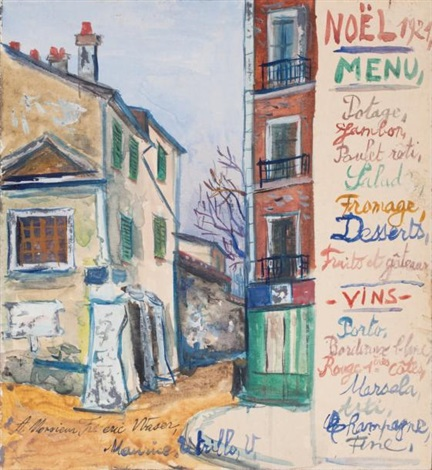 rue de montmartre menu de noël 1921 by maurice utrillo