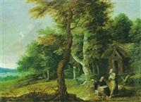 saint paul et saint antoine dans un paysage by geex delavallee