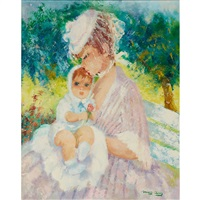 mother and child in a spring garden by marguerite aers