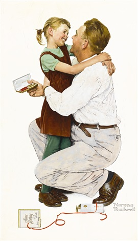 She Gave Me A Parker 61 Happy Birthday To Dad By Norman Rockwell On