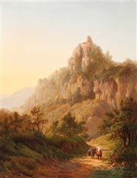 travellers in a mountain landscape at dusk by alexander joseph daiwaille