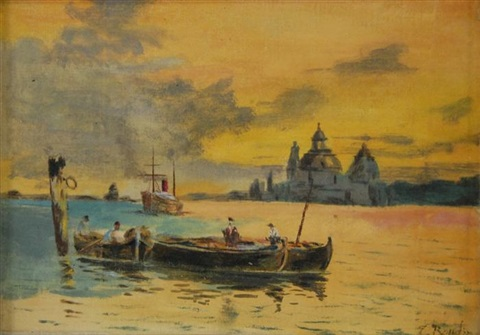 venice harbor at sunset by eugène boudin