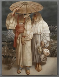 geisha and woman holding masks by lui lui