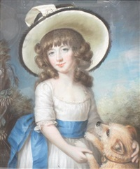 portrait of a girl wearing a hat, a pet dog at her side by john russell